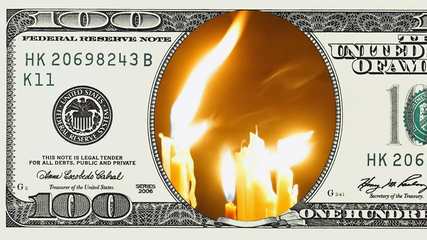 Burning candles in frame of 100 dollar bill. Money gain or lose concept. | Shutterstock HD Video #1018092550