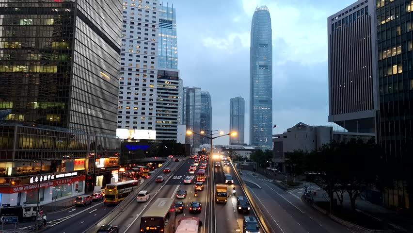 Footage Car light trails and urban landscape night traffic modern building in Hong Kong. | Shutterstock HD Video #1018119310