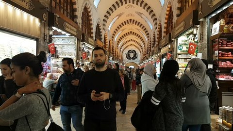 Istanbul,Turkey-October 18,2018: Hyperlapse footage of people walking and shoping in famous Spice Market (Bazaar) in Istanbul.?t is one of the historical bazaar in the city