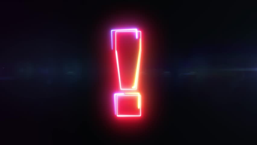 Exclamation sign shaking symbol outline looping on black background in 4k animation