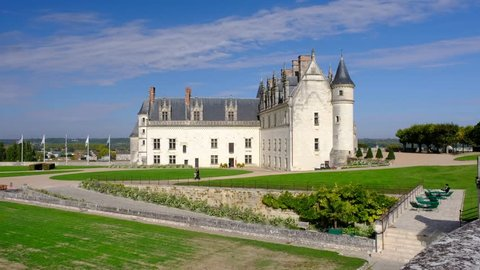 Amboise-France/Loire - October 10 2019 - The Royal Amboise castle with its garden and the Saint Hubertus chapel - Motion view