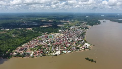 Drone view of Saint Laurent du Maroni Guiana. French colonial city