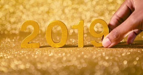 hand changing number 2018 to 2019  , new year coming concept , 2019 celebration countdown , 4k resolution