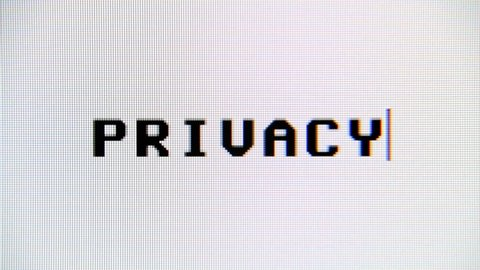 Typing the word Privacy on a computer monitor. Macro detail shot.