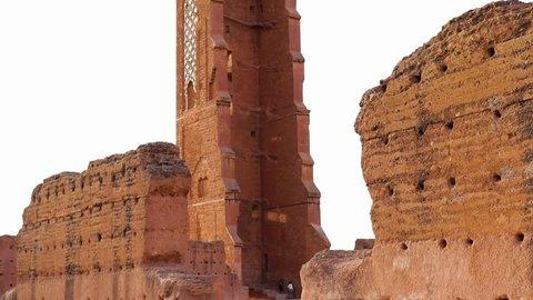Tilt higher The tower at the ruins of (El Mansourah) islamic Castle in Tlemcen -Algeria