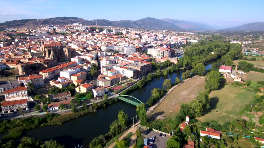 Aerial view in Plasencia, Caceres. Extremadura, Spain. 4k Drone Video   Shutterstock HD Video #1018416640