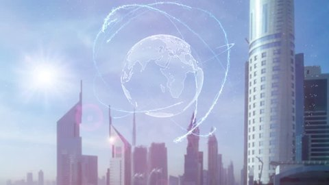 3d hologram of the planet Earth against the backdrop of the modern metropolis. Animation concept of global business market. Big Data transfer in the world of modern technology
