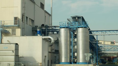 OLOMOUC, CZECH REPUBLIC, OCTOBER 24, 2018: Factory storage towers for oilseed rape. For the production of vegetable seed oils, biofuels and biodiesel. Commercial agriculture, Europe