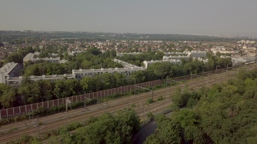 France, Around Paris, View of suburbs blocks by drone | Shutterstock HD Video #1018671250