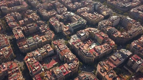 Typical square quarters of Barcelona. Aerial view