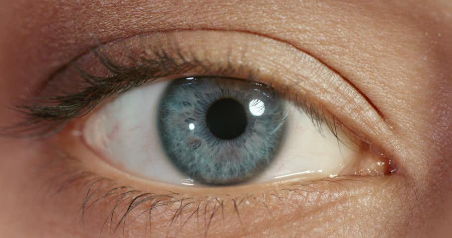 Close up macro blue eye opening beautiful iris natural human beauty healthy eyesight concept | Shutterstock HD Video #1018691080