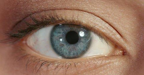 close up macro blue eye opening beautiful iris natural human beauty healthy eyesight concept