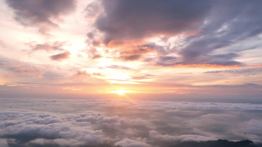 Beautiful Sunrise Sky with Sea of the mist of fog in the morning on Khao Luang mountain in Ramkhamhaeng National Park,Sukhothai province Thailand  #1018717150
