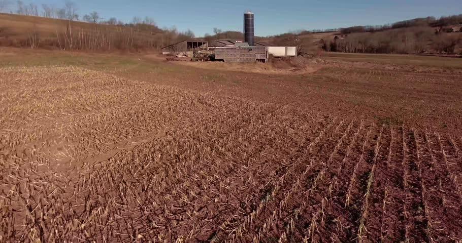 Drone 4K Footage Catskills Hills Fly Over Low Approching Farm | Shutterstock HD Video #1018775110