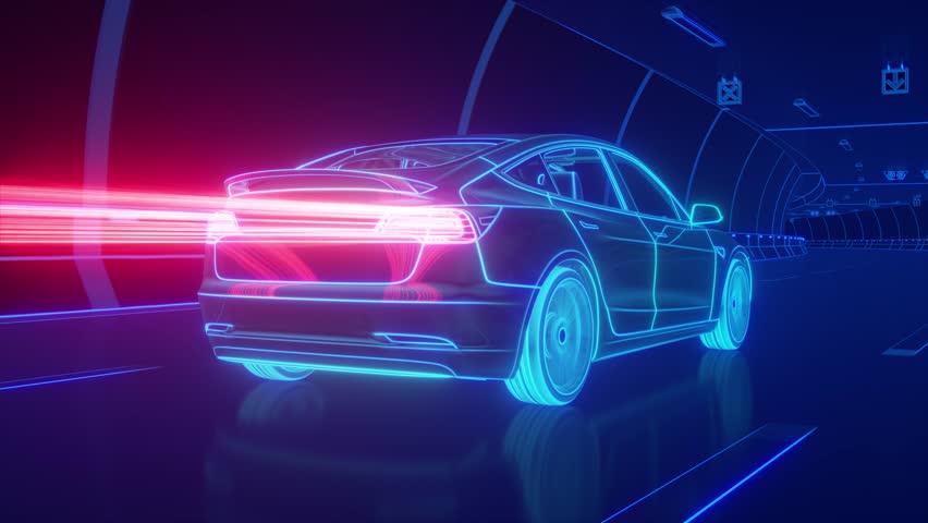 Blue glowing Modern Electric car rides through Blue tunnel #1018846180