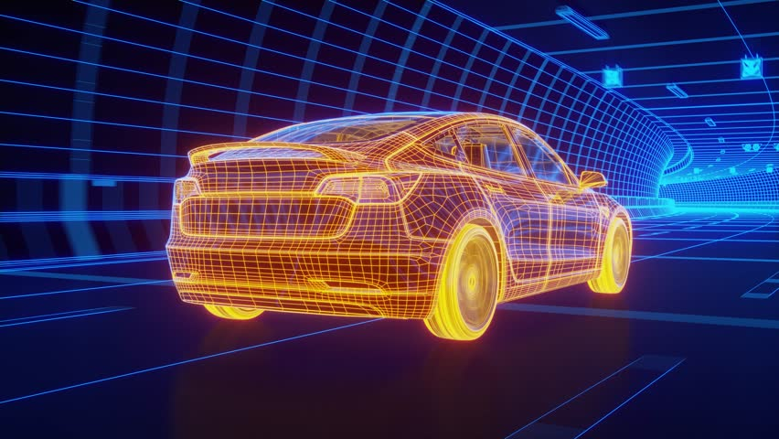 Yellow wireframe Modern Electric car rides through Blue tunnel 3d rendering #1018846210