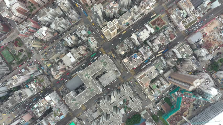 Aerial view of crowded buildings in  Sham Shui Po District, Hong Kong | Shutterstock HD Video #1018864630