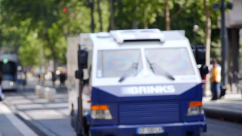 FRANCE - CIRCA JUNE 2017 - Brinks armored vehicle car truck, secure money currency transport, Marseille