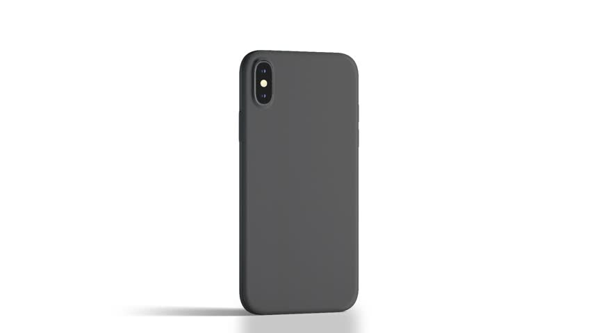 Blank black phone with matte case rotation, isolated, 3d rendering. Empty mobile in frosted cover mock up half-turning, back side view. Looped smartphone in bumper template. | Shutterstock HD Video #1018896940