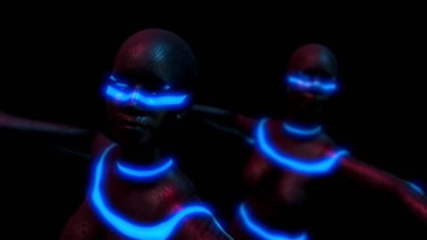 Cyborg women dance group performs samba dance in futuristic metallic neon costumes, 3D Rendering Animation.