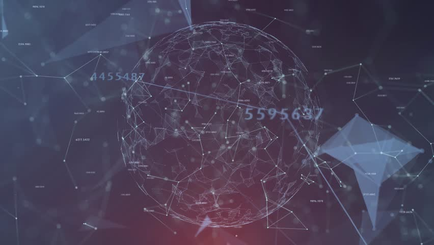 Futuristic digital sphere cyberspace with numbers, lines and dots motion background.  | Shutterstock HD Video #1018938160
