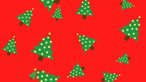Abstract New Year Christmas tree animation - color background. Christmas trees rotating and falling - seamless loop.