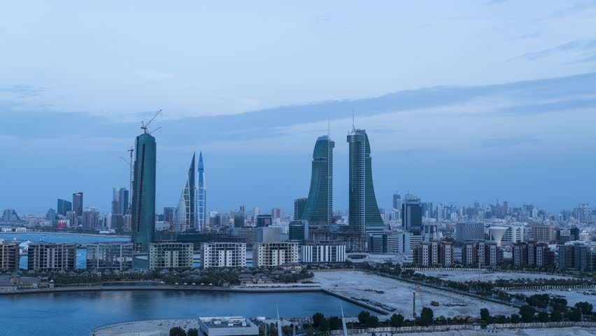 Time lapse view of Bahrain bay at sunset