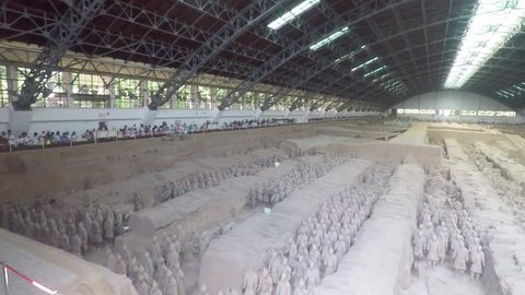 xian, China - 06 13 2018: the hall where the terracotta warriors are housed in xian china