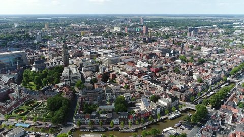 Aerial bird view footage of Groningen city center the main municipality as well as the capital the eponymous province in the Netherlands it is the largest town in the north of Holland 4k resolution