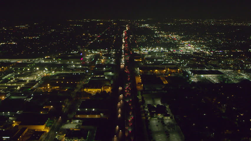 Aerial view of a highway on a clear night in Los Angeles, California. Shot on 4K RED camera.