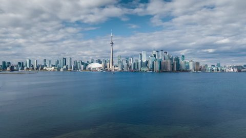 Aerial hyper lapse view of Toronto skyline showing Downtown buildings and CN Towner in Toronto, Ontario, Canada.