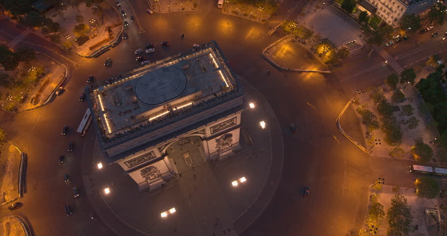 France Paris Aerial v56 Vertical detail view looking down over Arc de Triomphe and Place Charles de Gaulle 8/18 | Shutterstock HD Video #1019070820