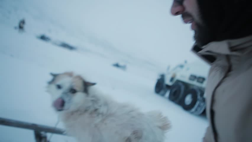 Man playing with a homeless dog in the Arctic tundra.