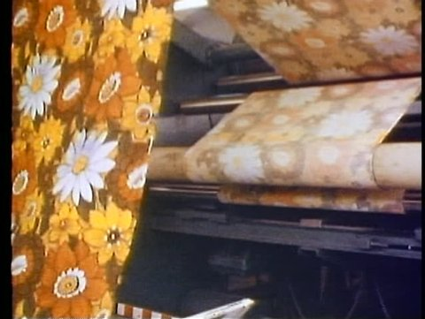 ALEXANDRIA, EGYPT, 1977, Cotton factory, printed cloth, out of drying machine