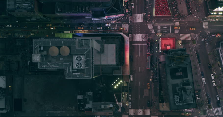 Aerial top down view of Times Square in Manhattan skyline in New York in summer evening. Wide to Long shot on 4K RED camera.