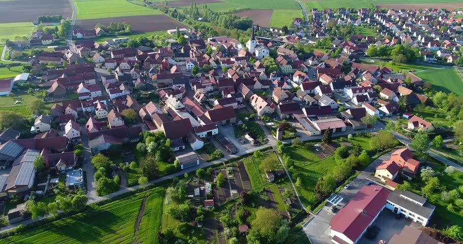 A little European city with a church in the center, European architecture, European village | Shutterstock HD Video #1019116180