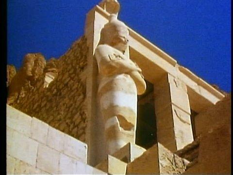 LUXOR, EGYPT, 1977, Valley of the Kings, Queen Hatshetsup temple, corner detail