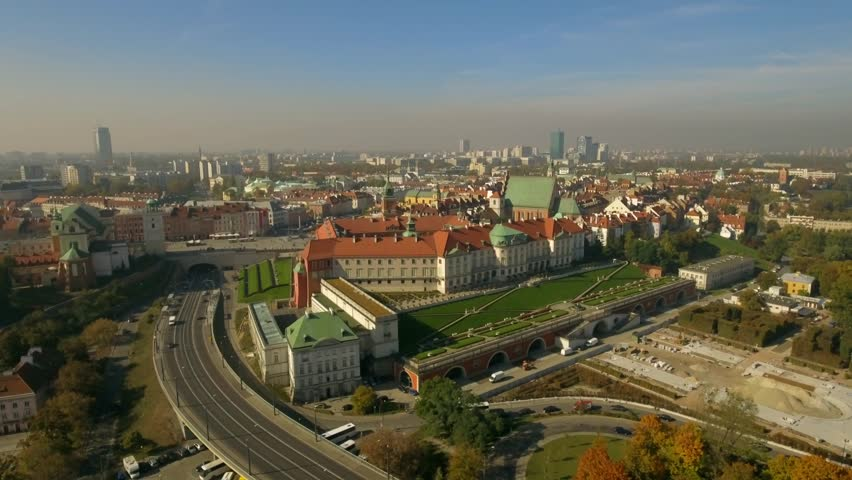 Old Town in Warsaw. Aerial view of the red roofs of the strinnyh houses. | Shutterstock HD Video #1019260360