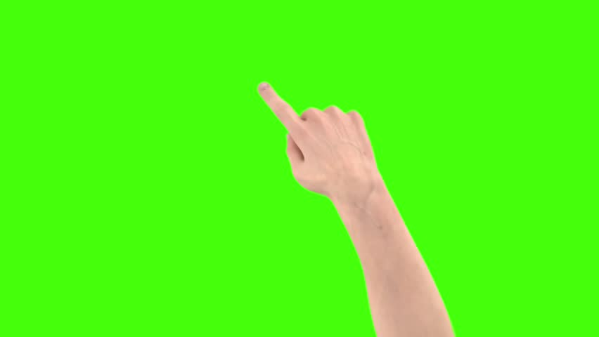 Hand gesture. Male hand is showing multitouch gesture in green screen. #1019419360