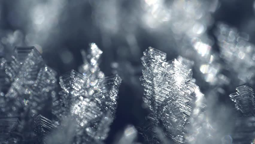 Macro shot of frost snow crystals in sunlight. Winter concept.