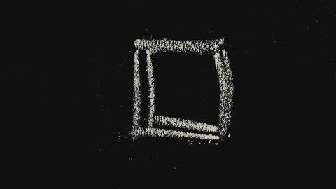 Simple chalk shapes on school blackboard. Short stop motion loop.