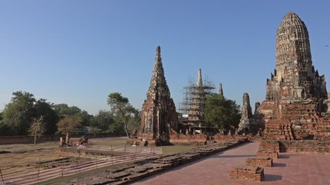The ancient temple Wat Chaiwatthanaram in Ayuthaya, Thailand, panorama view 4k