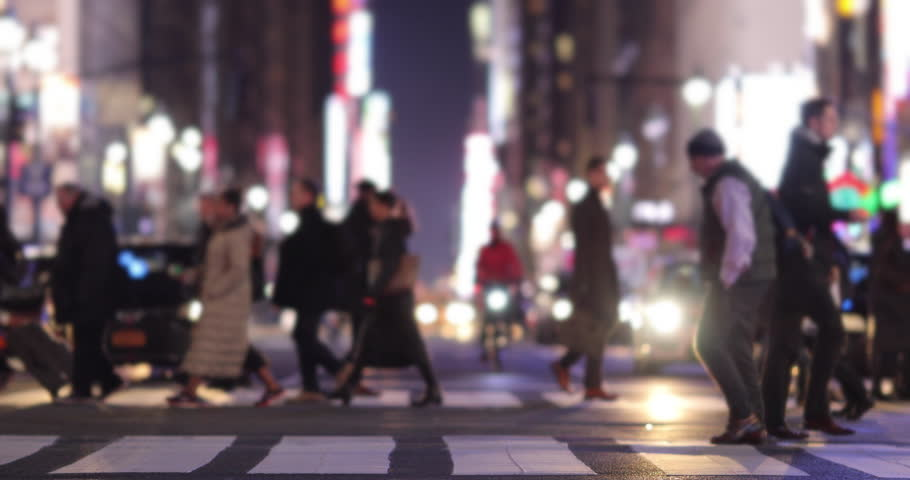 Crowd of people walking crossing street at night | Shutterstock HD Video #1019594020