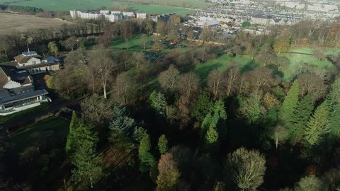 Aerial footage over Pittencrieff Park, the Art Deco Glen Pavilion and play areas in Dunfermline.