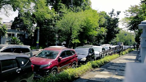 """Bandung, West Java / Indonesia - August 10th 2018: Cars Parked on """"No Parking Area"""""""