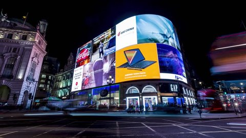 LONDON - NOVEMBER 14, 2018: Timelapse of Piccadilly Circus in London at night