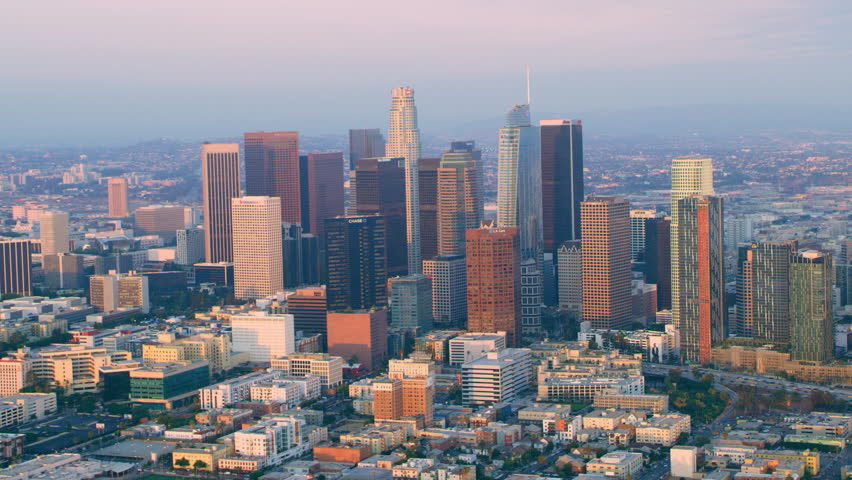 Los Angeles, California CIRCA - 2018. Flying around downtown Los Angeles at sunset. Wide shot on 4k RED camera.