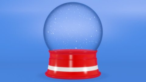 Empty Red and White Snow Globe over Blue Background 3D Animation with Snow
