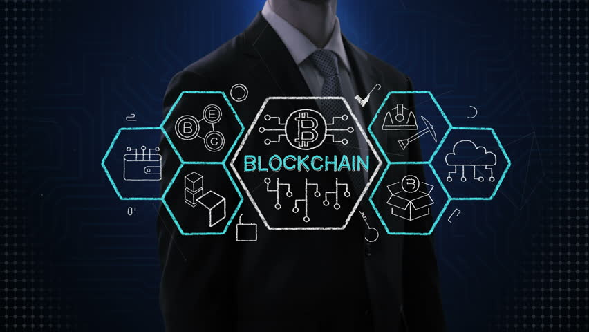 Businessman touching block chain icon,  various block chain financial technology icon, 4k animation.