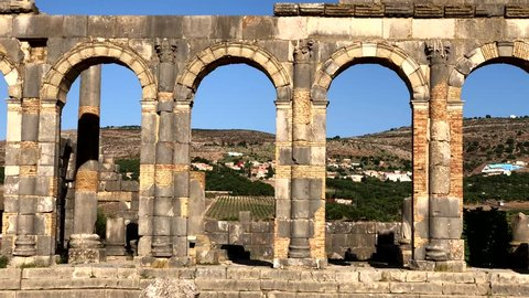 Ruins of ancient roman temple Volubilis near to Meknes, Morocco, Africa.